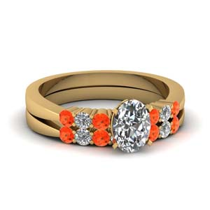 Tapered Orange Topaz Bridal Set