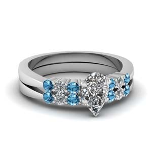 7 Stone Wedding Ring Set