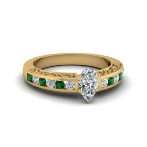 Emerald Teardrop Engagement Ring