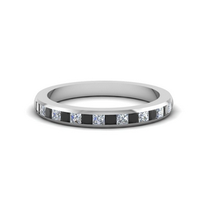 princess cut wedding band for women with black diamond in 14K white gold FDENS877BGBLACK NL WG