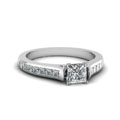 princess cut channel set diamond engagement ring in 14K white gold FDENS877PRR NL WG 30
