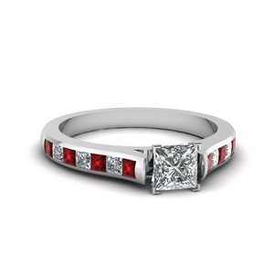 Princess Cut Moissanite Side Stone Rings