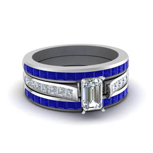 Sapphire Band With Channel Diamond Ring