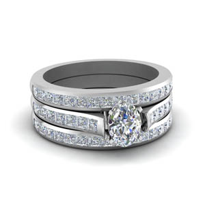 oval shaped classic channel set trio diamond wedding ring set in white gold FDENS877TOV NL WG