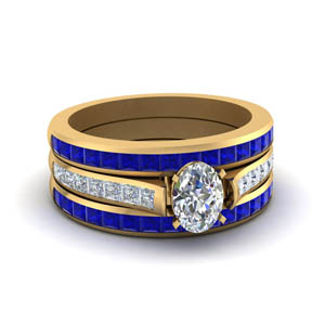 Sapphire Trio Wedding Ring Set