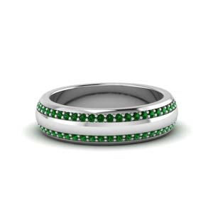 2 Row Mens Emerald Eternity Band