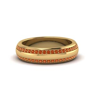 Gold Pave Comfort Fit Mens Band