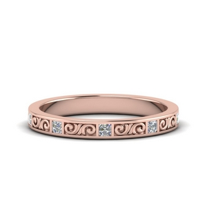 18K Rose Gold Filigree Eternity Band