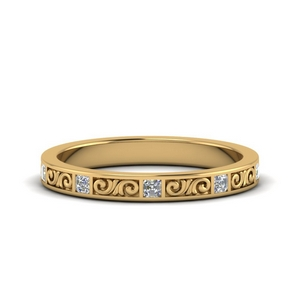 Filigree Engraved Diamond Band