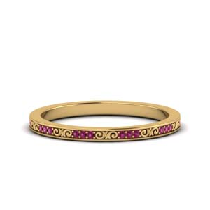 Vintage Pink Sapphire Wedding Band