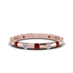 Half Carat Ruby Wedding Band