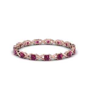 Thin Pink Sapphire Eternity Band