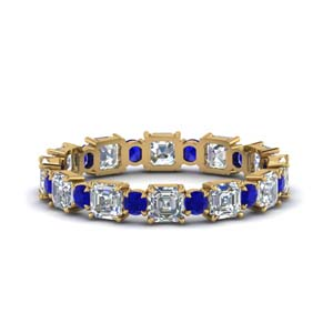 2.25-ct.-asscher-and-round-art-deco-diamond-eternity-band-with-sapphire-in-FDEWB123628AS(3.00MM)GSABL-NL-YG