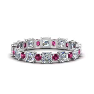 2.25-ct.-asscher-and-round-art-deco-diamond-eternity-band-with-pink-sapphire-in-FDEWB123628AS(3.00MM)GSADRPI-NL-WG