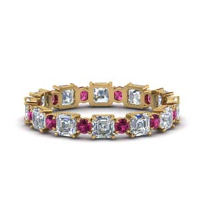 2.25-ct.-asscher-and-round-art-deco-diamond-eternity-band-with-pink-sapphire-in-FDEWB123628AS(3.00MM)GSADRPI-NL-YG