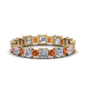 2.25-ct.-asscher-and-round-art-deco-diamond-eternity-band-with-orange-sapphire-in-FDEWB123628AS(3.00MM)GSAOR-NL-YG