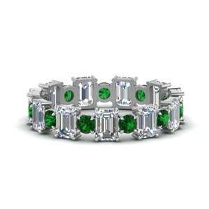White Gold Emerald Wedding Band