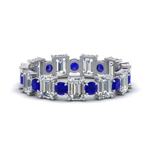 3.50-carat-diamond-emerald-cut-with-round-eternity-wedding-band-with-sapphire-in-FDEWB123628EM(3.00MM)GSABL-NL-WG