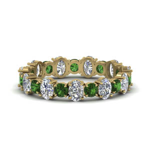 Oval Cut Eternity Band With Emerald
