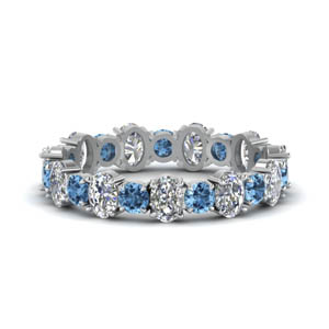 14K White Gold Blue Topaz Band
