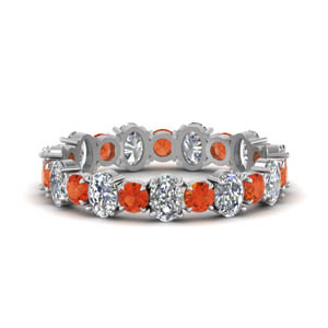 Platinum Eternity Band With Orange Topaz