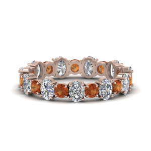 Round Shaped Orange Sapphire Band