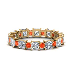 Gold Band With Orange Topaz