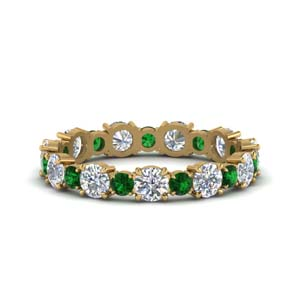 18K Gold Eternity Band With Emerald