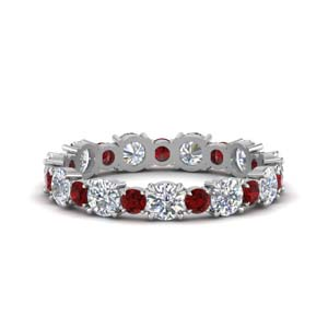 Art Deco Diamond Band With Ruby