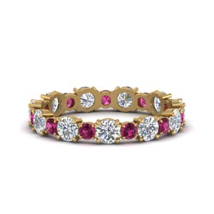 Pink Sapphire Wedding Band Gold