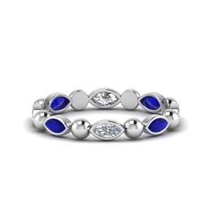0.75 Carat Marquise Cut Sapphire Band