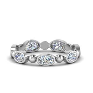 1.75 Ct. 14K White Gold Oval Shaped Band