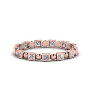 Half Carat Princess Cut Bead Band