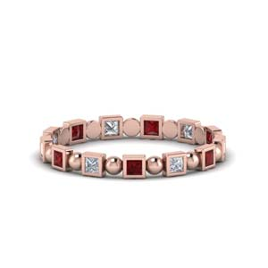 Ruby Square Bead Eternity Band