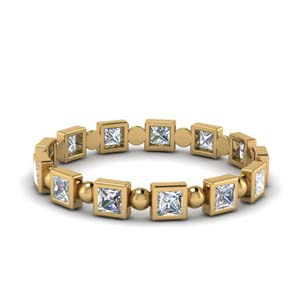 Gold Bezel Bead Wedding Band