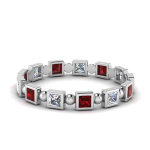 Princess Ruby Bead Eternity Band