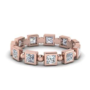 Princess Diamond Bead Eternity Band
