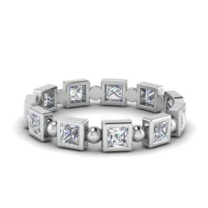 1 Carat Princess Cut Bead Band