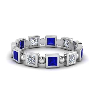 Princess Cut Bead Eternity Band