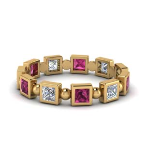 Beads Pink Sapphire Eternity Band