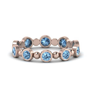 Bead Bezel Set Blue Topaz Band