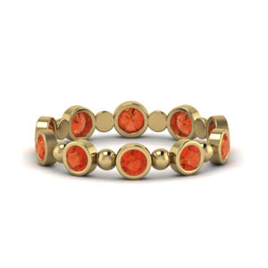 Round Bezel Orange Topaz Band