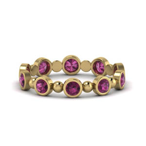 Wedding Band In Pink Sapphire