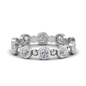 1 Ct. Bead Bezel Set Diamond Band