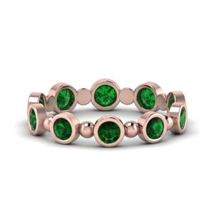 1 Carat Bead Bezel Set Emerald Band
