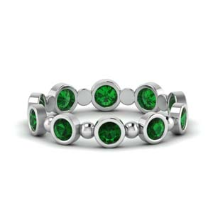 1 carat bead bezel set emerald wedding band in FDEWB123630RO(3.00MM)GEMGR NL WG GS.jpg