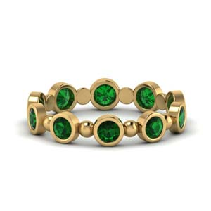 1 carat bead bezel set emerald wedding band in FDEWB123630RO(3.00MM)GEMGR NL YG GS.jpg