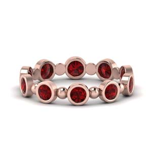 1 Carat Bead Bezel Set Ruby Band