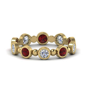 Bead Bezel Set Ruby Band 1 Carat