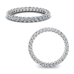 14K White Gold Round Eternity Band